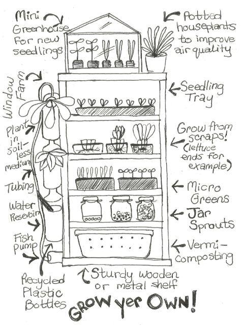 Indoor growing shelf